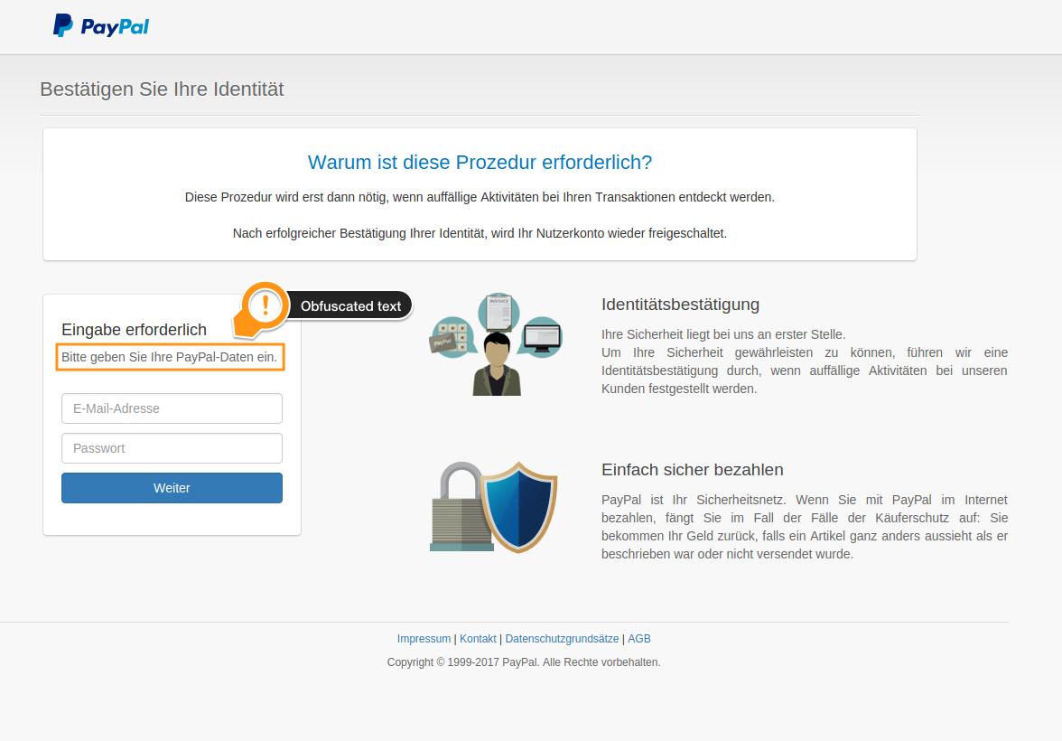 PayPal phishing website