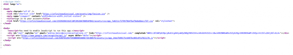 The source code of the reactjs phishing application