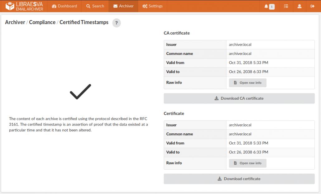 RFC3161 certified timestamps